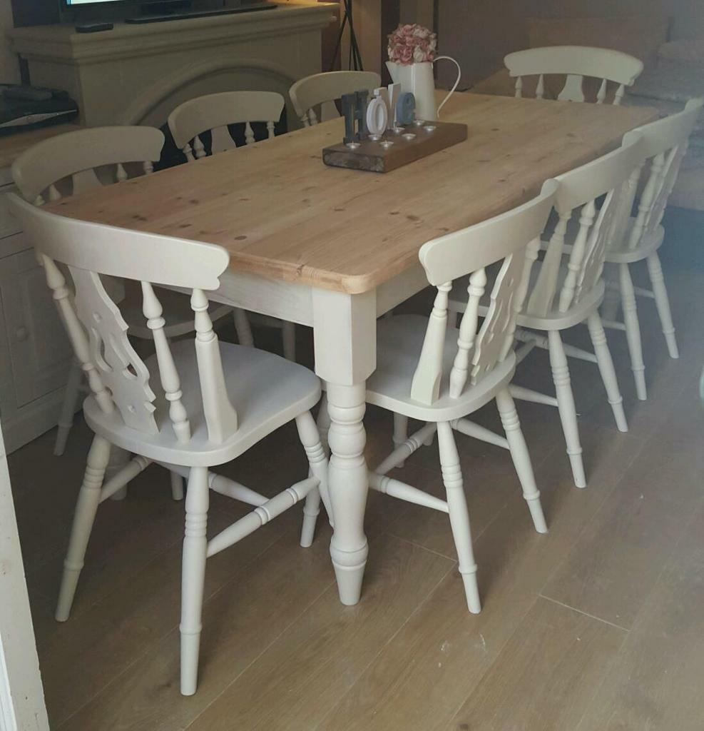 Pine Farmhouse Kitchen Table Solid Pine Shabby Chic Farmhouse Dining Table And 8 Chairs Large