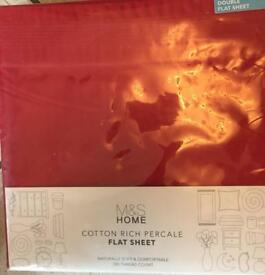 Marks&Spencer Red Double Flat Sheet