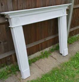 Shabby chic look Woodthorpe White Fire Surround Mantlepiece Fireplace Architectural Salvage wood