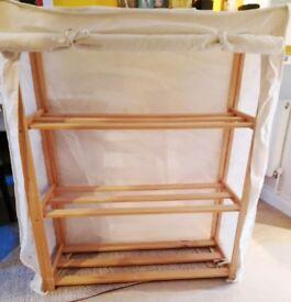 Wooden storage shelves unit, White/ cream polycotton cover