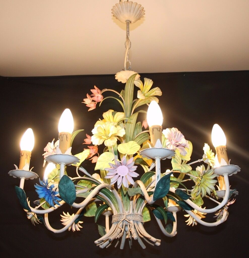 Vintage french tole chandelier large floral toleware ceiling light vintage french tole chandelier large floral toleware ceiling light refgjn29 arubaitofo Image collections