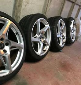 "5x112 18""x8.5"" River R4 wheels."