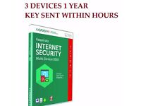 KASPERSKY INTERNET SECURITY 3 USER 1 YEAR 2016 MULTI-DEVICE - 100cd's sealed