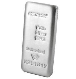 1kg .999 fine silver bar for sale - Metalor