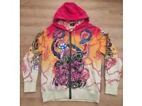 """Brand new authentic Christian Audigier men's luxury """"Snakes and Skull"""" designer hoodie, Large"""
