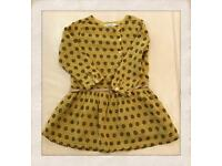 Dress colour mustard with black dots, size 98,3 years old