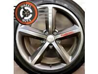 "18"" Genuine Audi TT, A6, S Line 5 spoke alloys refurb Anthracite good tyres."