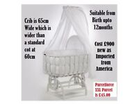 Can Post BESPOKE Stunning Large Baby Crib / Cradle so much larger and stronger than a moses basket