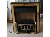 Pre-owned gas fire with brass colour finish