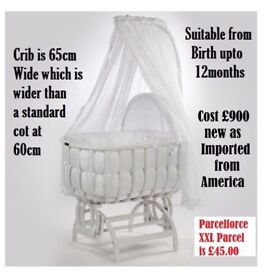 Can Post was £900 so SENSIBLE OFFERS ONLY very large swing swinging cradle cot crib / moses basket