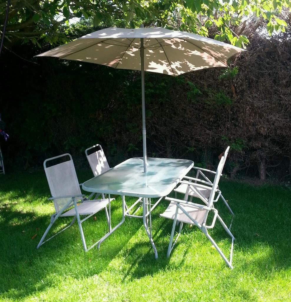 Garden table with 6 chairs and parasol in norwich for Garden decking norwich