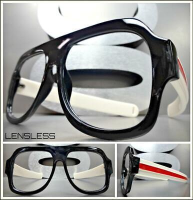 Übergröße Retro Stil Groß Dick Schwarz Glasloses Augen Brille Rahmen nur Kein
