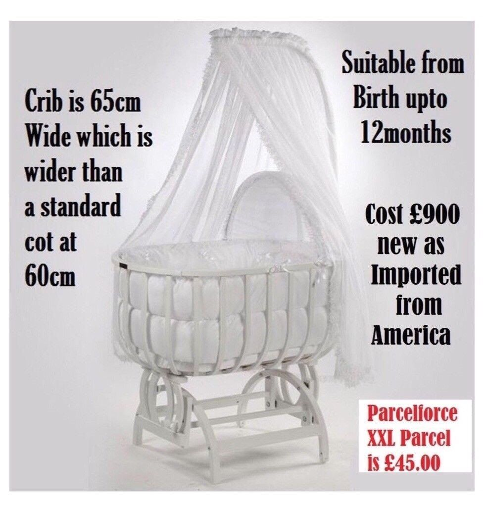 cost £900 new Very Large Swing / Gliding Crib bigger than a leipold or M J mark wicker moses basket