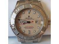 ROLEX YACHT MASTER STAINLESS STEEL 32 mm CHAMPAGNE DIAL STILL AS PLASTIC PROTECTION ON THE STRAP.