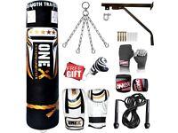 Heavy Filled 11 Piece 4ft Boxing Punch Bag Set Gloves