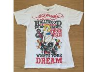 Brand new vintage Ed Hardy men's T-shirt. White. Medium. Hollywood design. Decorated in rhinestones