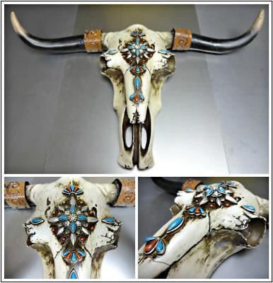 Western Decore (Western Cow Skull Turquoise Jewel Rustic Hanging Large Wall Sculpture)