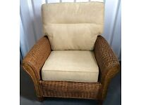 "NEW - CANE RATTAN ARMCHAIR WITH CUSHIONS - EXPENSIVE QUALITY 38""W x 34""D x 38""H"