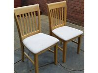 Two wooden dining chairs with suede cushioned seats. High qualty. In very good condition.