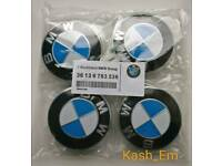 BMW 68MM BLUE AND WHITE SET OF 4 WHEEL CAPS
