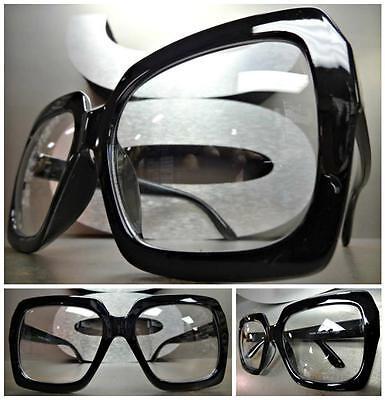 HUGE OVERSIZE 70s VINTAGE Style Clear Lens EYE GLASSES Thick Black Fashion (70s Style Glasses Frames)