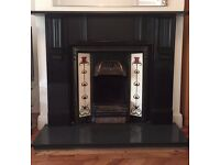 Large Black Slate Fire Surround with Fire and Hearth.