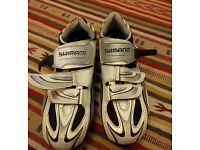 Shimano R087 clip in bike shoes, White, size 14UK