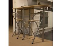 SIMPLE BREAKFAST TABLE / BAR WITH 2 CHAIRS - GREAT VALUE 4 MONEY