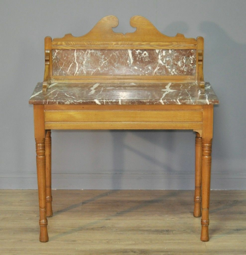 Victorian Ash Coffee Table: Attractive Antique Victorian Ash Marble Top Washstand