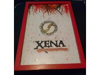 Xena Warrior Princess Crayon & Glitter Art Picture in Red Frame