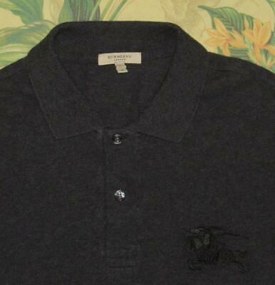 Mens BURBERRY LONDON Charcoal Gray Longsleeve Polo Shirt Slim Medium M