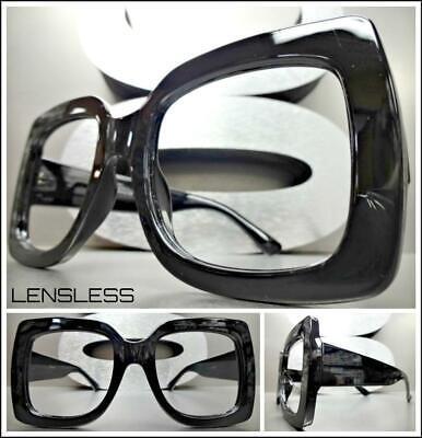 Übergröße Retro Stil Groß Dick Schwarz Glasloses Augen Brillengestell nur Kein