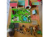 ELC Wooden Farm with collection of farm and zoo animals