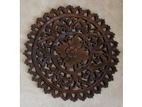 Round Hand-carved Thai wood wall panel