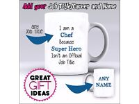 Super Hero Job Title/ Career Mug / Mugs - Add Any Name of Your Choice
