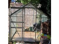 Greenhouse 8' x 6' glass with sliding door and opening rooflight.