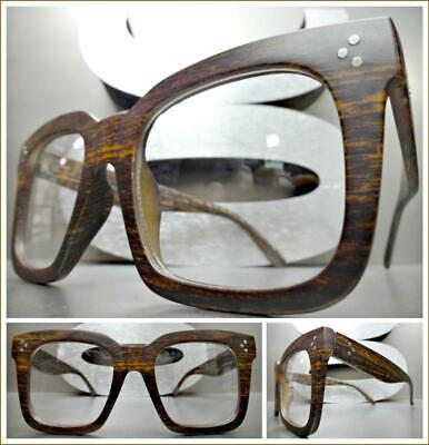 OVERSIZE Nerd RETRO Style Clear Lens EYE GLASSES Square Faux Wood Thick Frame (Oversized Clear Glasses)