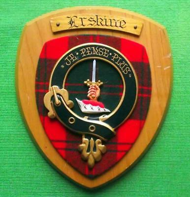 Vintage Scottish Hand Carved Oak Clan Erskine Tartan Plaque Crest Shield