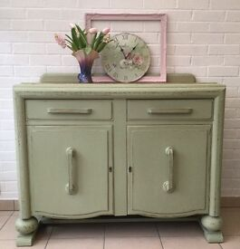 Upcycled Vintage Sea Moss green buffet sideboard for kitchen or dining room.