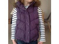 Girls John Lewis Purple Hooded Gilet age 6 years