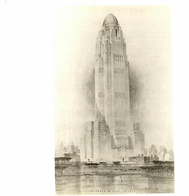 (1979-Ely Jacques Kahn: NYC Skyscraper,1930- Vtg Bookplate Architecture Art Print)