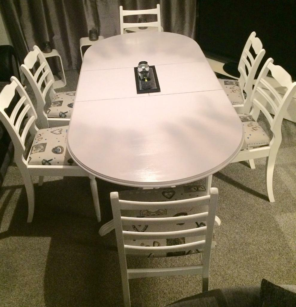 Beautiful shabby chic dining table and 6 chairs in for Beautiful dining table and chairs