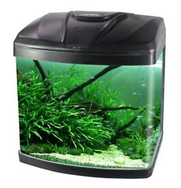15L Aquarium Fish GlassTank Fresh Water LED Light Filter Black