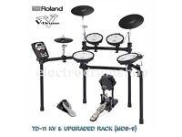 ROLAND TD-11KV vdrums electronic drum kit UPGRADED. MDS-9 rack & Vex Pack - Excellent