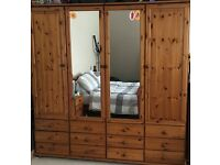 Full set of pine furniture including 2x wardrobes, chest of draws, ottoman 2x bedside tables