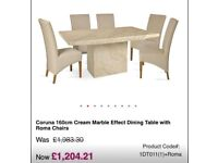 Italian marble dining table, 4 chairs