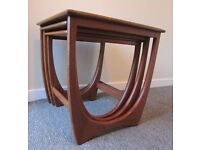 G Plan, designer set of 3 solid wood nest of 3 tables coffee table occasional table