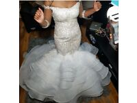 Used wedding dress size 8-10 silver stones white