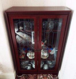 Beautiful Mahogany Glass-Fronted Display Case/Shelving Unit