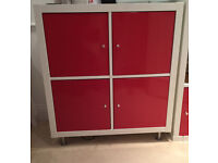 White Ikea Kallax 4x Shelving Unit with 4 x Red Gloss Doors Collection Chelsea, London